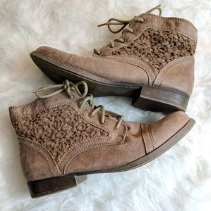 Mossimo Laced Up Booties Floral Design - Size 9